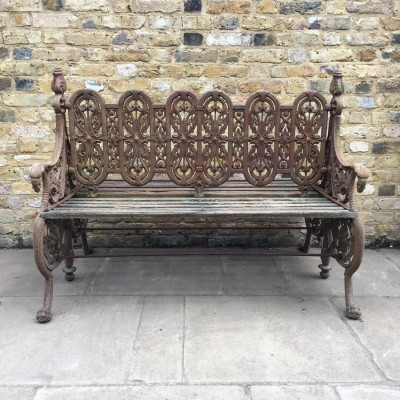 Pair of Reclaimed Ornate Benches
