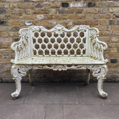 Pair Of Reclaimed Ornate Garden Benches