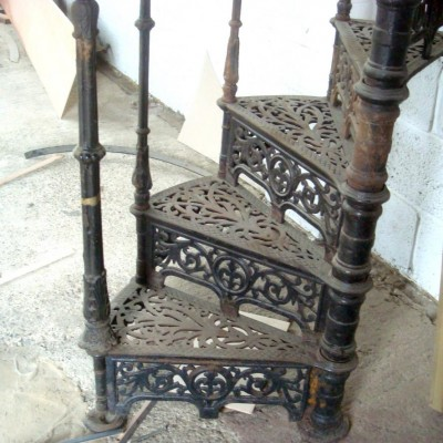 Ornate Antique Victorian Cast Iron Spiral Staircase