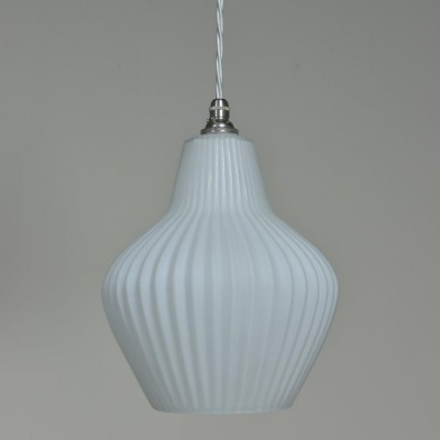 Waved white glass trio pendant lights
