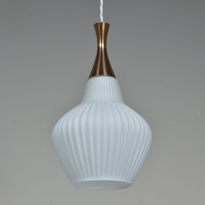 Waved white glass and brass pendant light