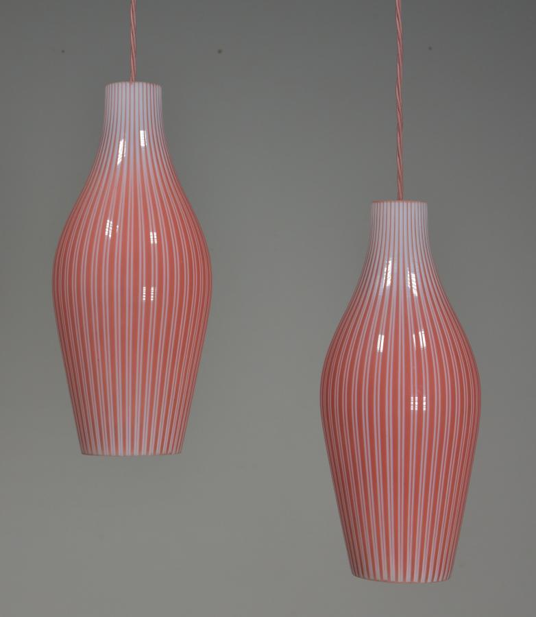 Vintage glass skittle pendant shades