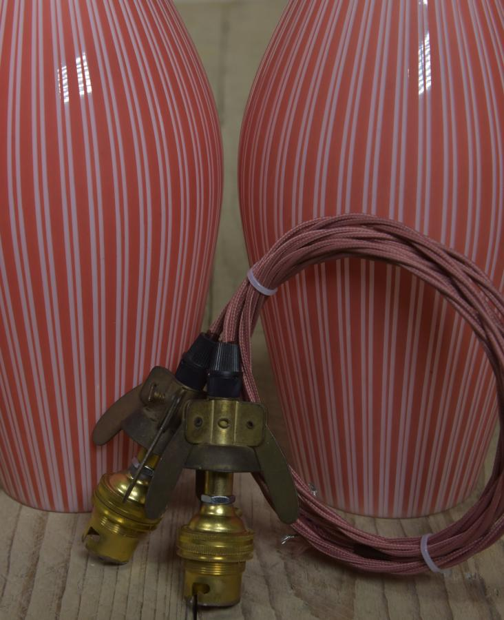 Vintage glass skittle pendant shades