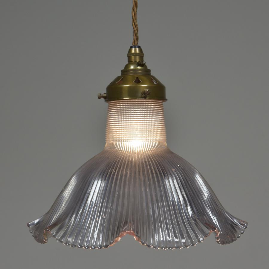 Antique Frilly Holophane Shade Pendant Light