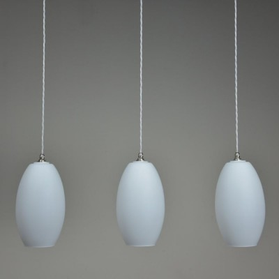 ovoid matt white glass pendant lights c1960