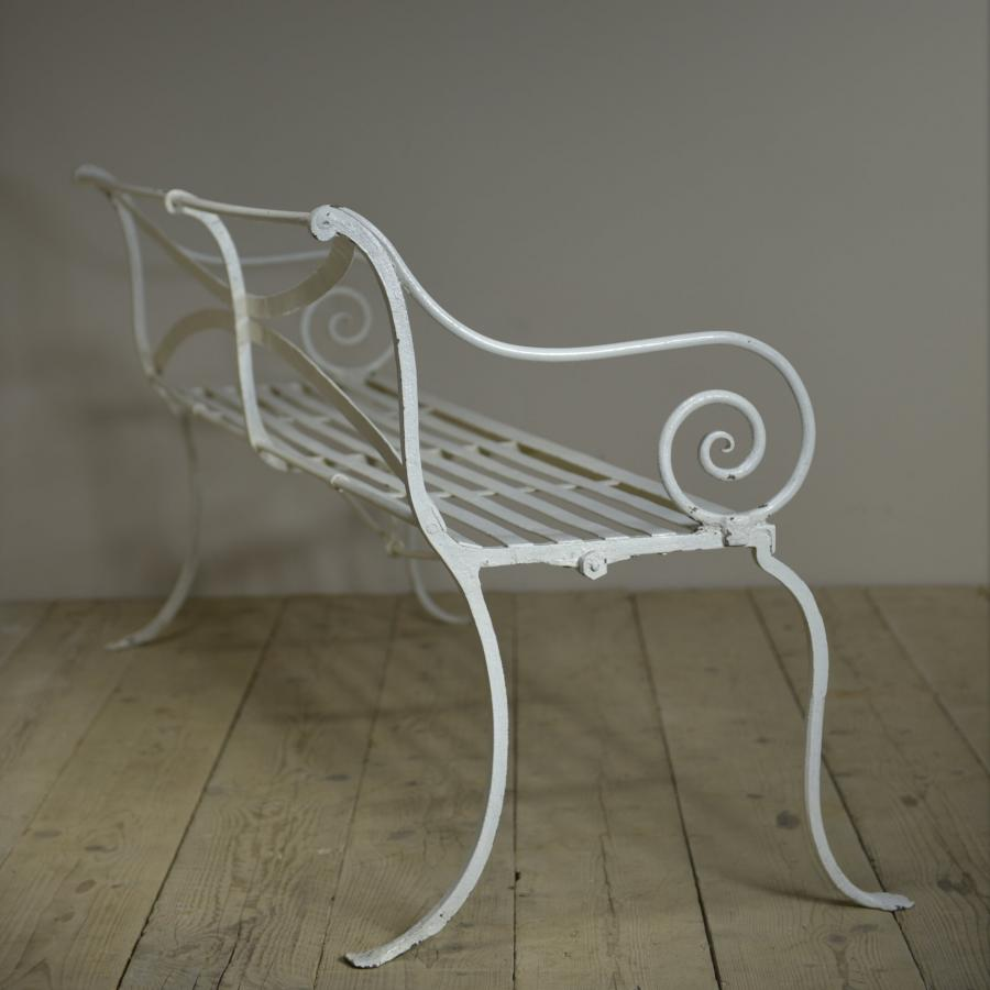 antique wrought iron scroll armed bench c1840