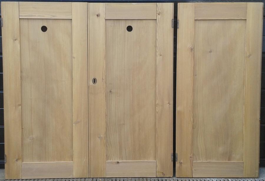 3 matching Victorian cupboard doors in pine.