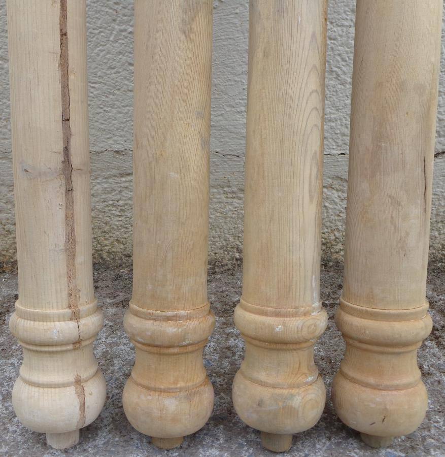Antique set of 4 pine spindles / columns.