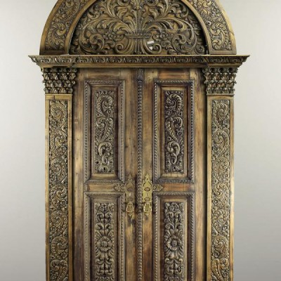 Antique Arched Ornate Wood Double Doors