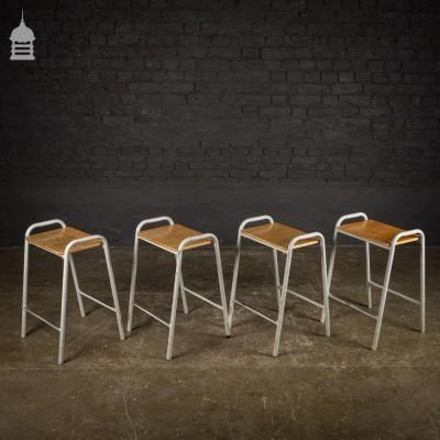 Set of 4 Vintage Steel Framed Stackable School Lab Stools