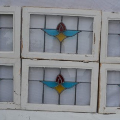6 leaded light stained glass windows. R594