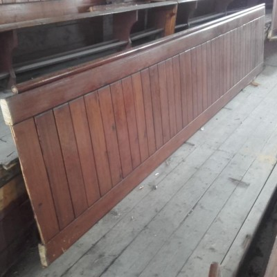 140 ft run of pitch pine pew back panelling.