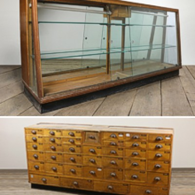 Vintage Wooden Display Cabinet with Drawers