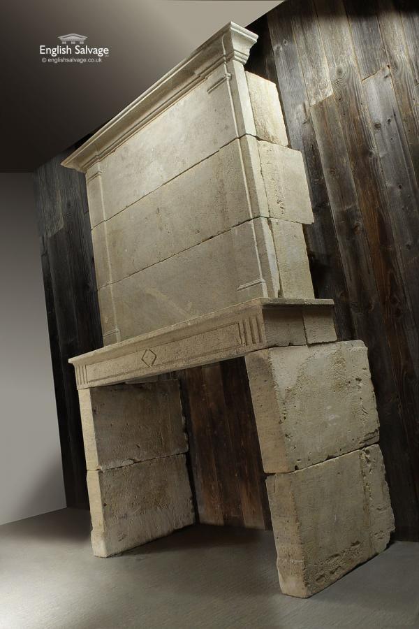 Imposing Antique Stone Trumeau Fireplace