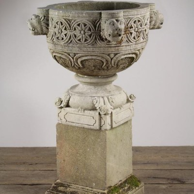 Reclaimed Carved Sandstone Lion Urn on Plinth