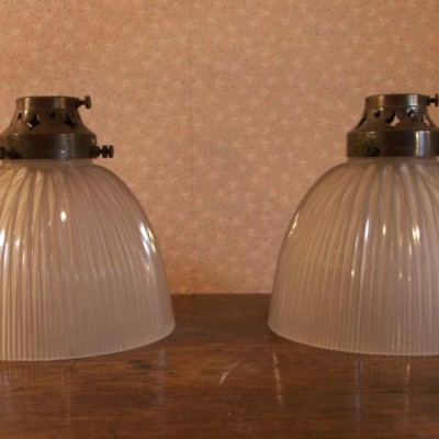 pair of antique holophane church pendant shades
