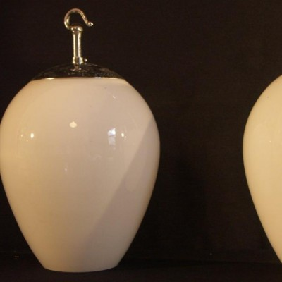 pair antique opal glass pendant light shades