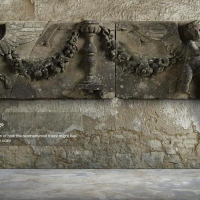 Salvaged Decorative Grand Carved Stone Frieze