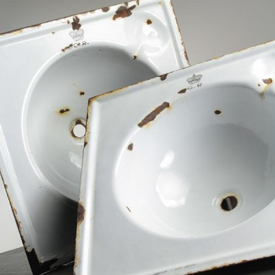 Salvaged Enamel Steel Train Sink Bowls