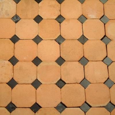 Carrelage octogone à cabochons - octagonal terracotta