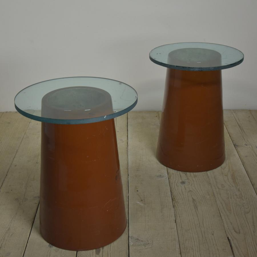 pair porcelain occasional tables 1960s
