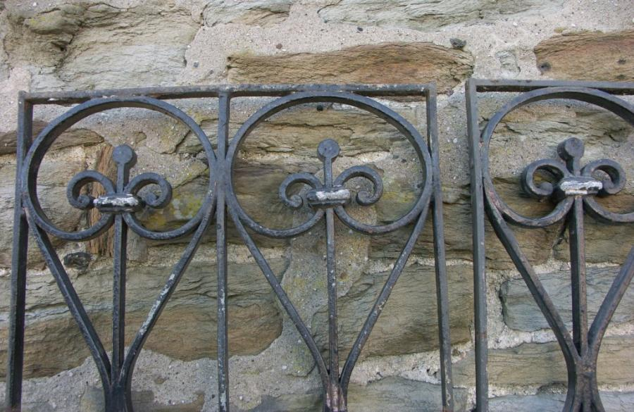 pair 19th century wrought iron and lead door or window grilles