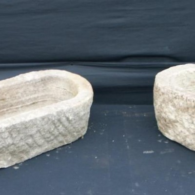 pair  of small victorian limestone troughs