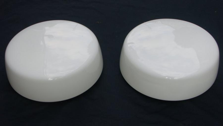 large pair white opal  glass ceiling / wall light fittings