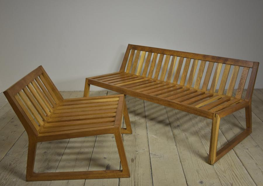 Angular oak low seat and chair