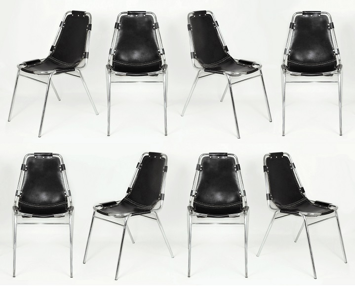 8 x Charlotte Perriand Les Arcs Stacking Chairs. C1970