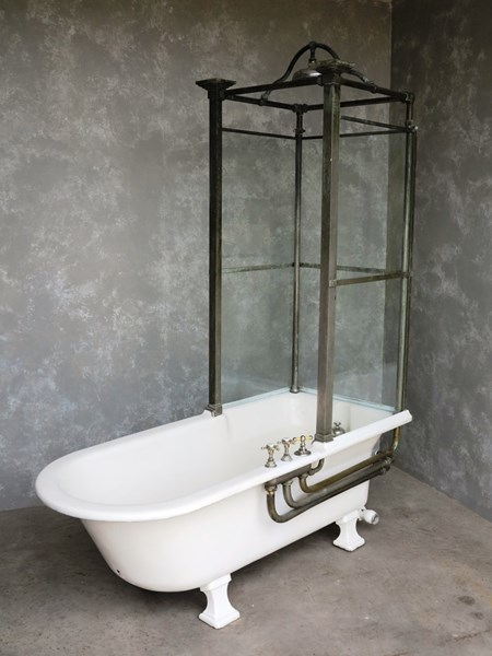 Antique Original Bathroom Cast Iron Canopy and Glass Shower Bath