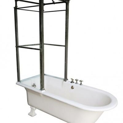 Antique Original Bathroom Cast Iron Canopy and Glass Shower Bath