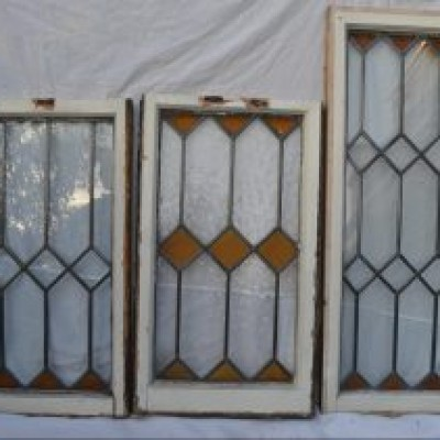 3 leaded light stained glass windows. R607
