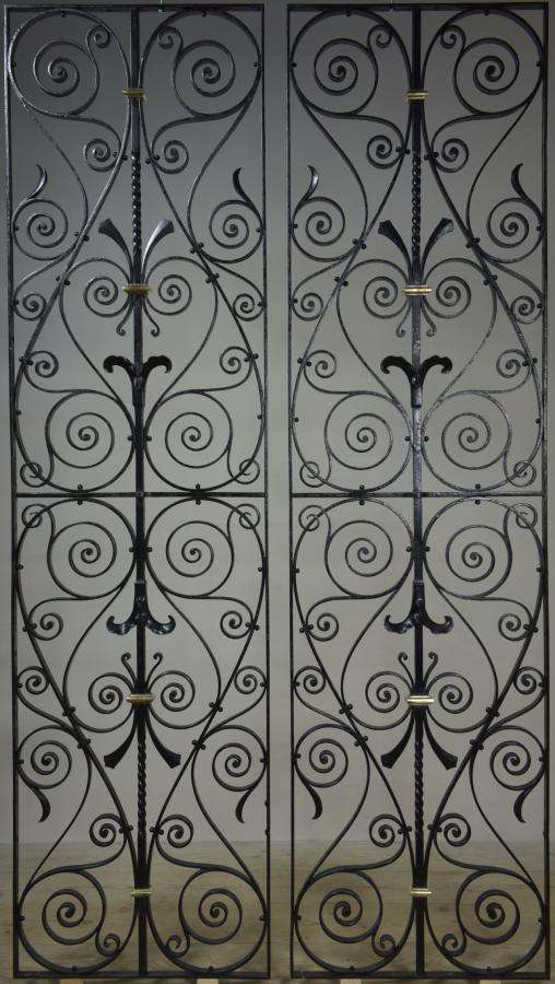 pair large wrought iron and bronze antique grilles