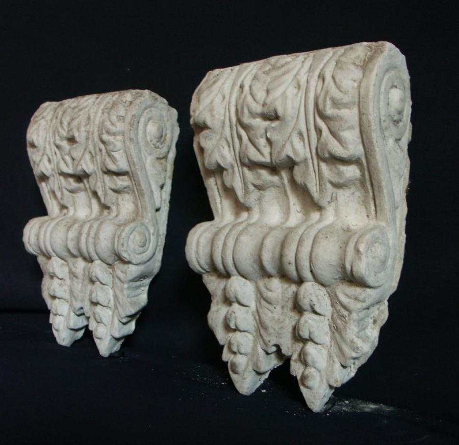 pair of victorian scrolled floral plaster corbels
