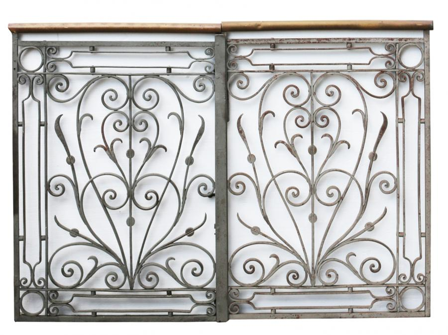 Pair Of Ornate Antique Iron And Brass Pedestrian Gates