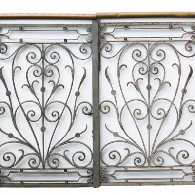 Pair Of Ornate Antique Iron And Brass Pedestrian Gates
