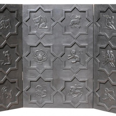 Cast Iron Fire Back Depicting 'the Signs Of Zodiac' C.1900-1930