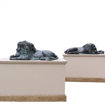 20th Century Bronze Lions In The Manner Of Antonio Canova
