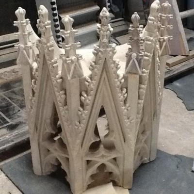 Pair of Gothic Limestone Canopies