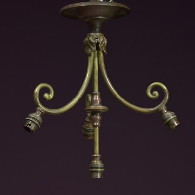 antique arts and crafts brass chandelier