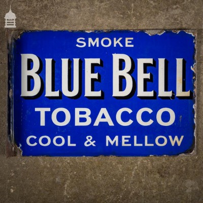 Double Sided Blue Bell Tobacco Blue and White Enamel Advertising