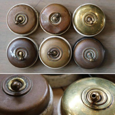 Antique Art Deco Brass Dolly Light Switches - 6 Available