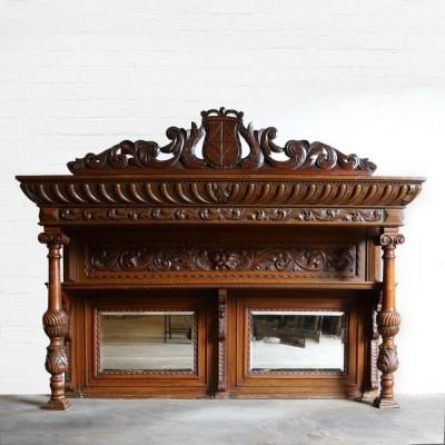 Victorian Carved Oak Overmantel
