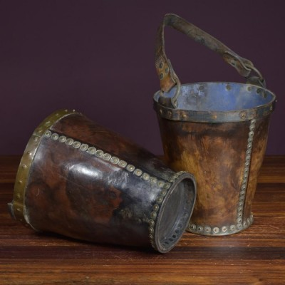 Pair antique 19th century leather buckets