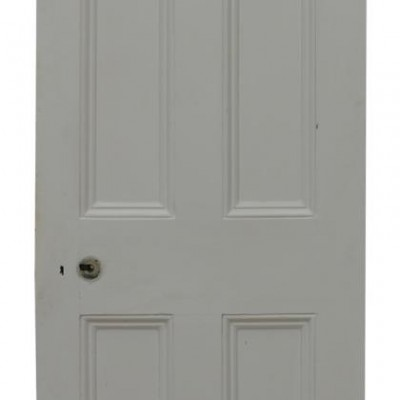 Set Of Five 19th Century Painted Pine Four Panel Doors