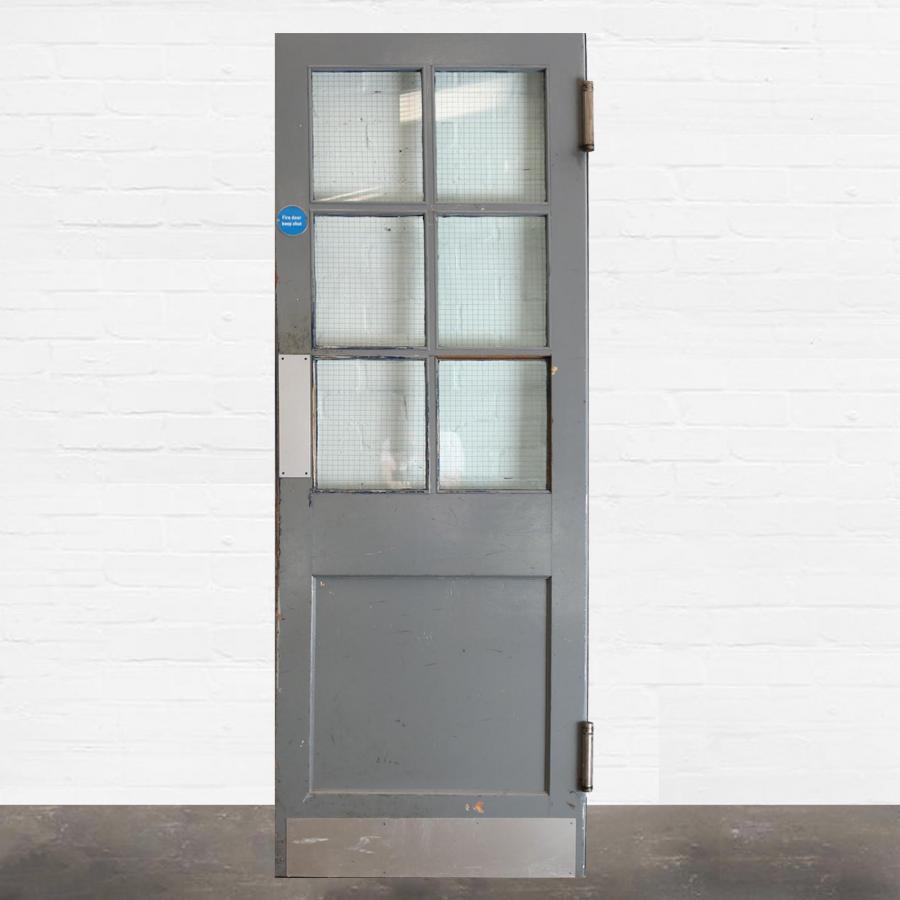 For Sale Pine Door with Georgian Wire Glass 212 x 76cm - SalvoWEB UK