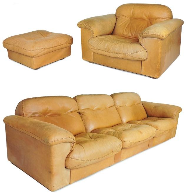 De Sede DS 101 Suite, Sofa, Single Armchair, Pouffe 60s Vintage Desede