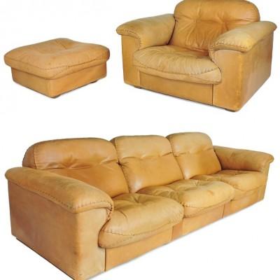 De Sede DS-101 suite, sofa, single armchair, pouffe 60s Vintage desede Manchester, de sede,