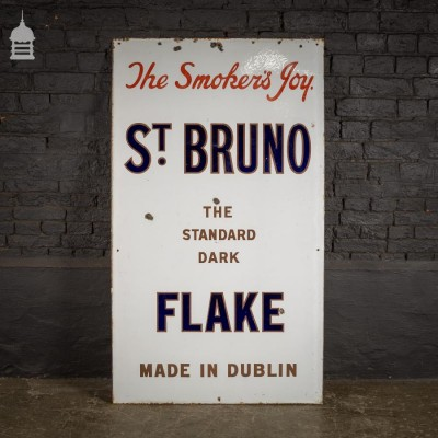 St. Bruno Flake Made in Dublin Enamel Advertising Sign